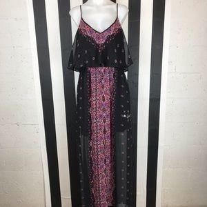 5 for $25 Express Print Ruffle Sheer Maxi Dress